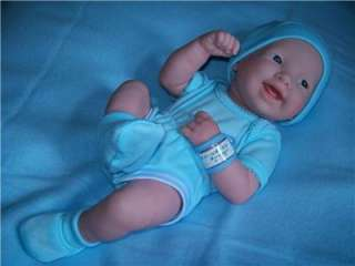 BERENGUER LA NEWBORN VINYL SMILEY BABY BOY DOLL/REBORN/BLANKET/CLOTHES