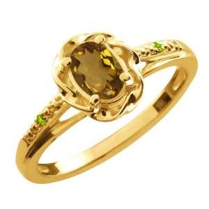 56 Ct Oval Whiskey Quartz Green Peridot 14K Yellow Gold Ring Jewelry