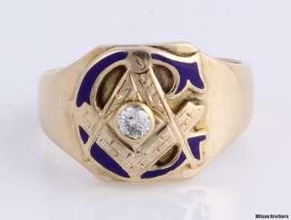Mine Cut Diamond Blue Lodge Cigar Band   10k Gold Masonic Ring Masons