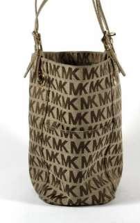 Michael Kors Brown Signature Logo Canvas Gold Handle Tote Shoulder Bag