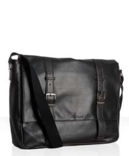 Ben Sherman black faux leather buckle detail laptop messenger bag
