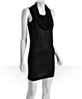 Halston Heritage black knit cowl neck sleeveless dress