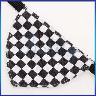 Black White Checked Pet Dog Bandana Bell Collar Scarf Neckerchief S
