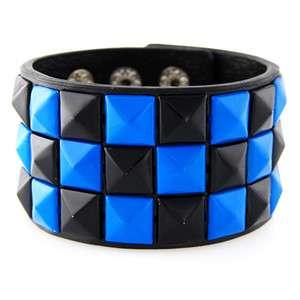 Blue Black Studded Punk Rock Wristband Studded Bracelet