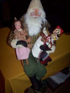 23 Paper Mache German Style Santa, Cinnamon Prim Doll