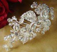 & Crystal Silver Wedding Bridal Hair Comb prom veil clip tiara 8111s