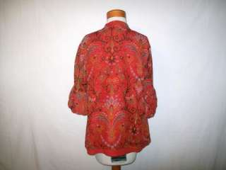 Coldwater Creek Blouse panel over button up pleated sleeves lined silk
