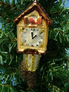 New Midwest Glass Cardinal Cuckoo Clock Pine Cone Christmas Tree