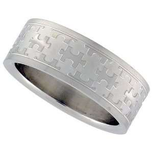 Autism Puzzle Piece Band Ring Stainless Steel
