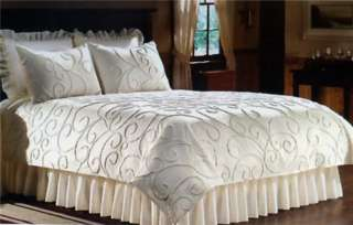 Ivory Eyelet Wrap Around Bed Skirt 15 Drop Scalloped Trim TWIN FULL