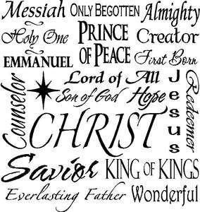 Vinyl Lettering Decal Words Wall Tile Plaque Christ Jesus Religious