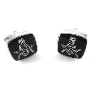 Square Black & Silver Masonic Square & Compass Cufflinks Jewelry