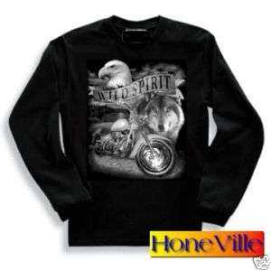 LS t shirt WILD SPIRIT biker wolf eagle motorcycle