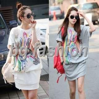 Korean Womens Colourful Mini Dress Tops Blouse 2Colours
