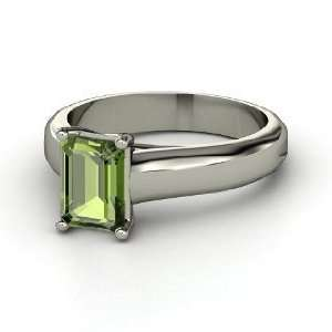 Emerald Cut Solitaire Ring, Emerald Cut Green Tourmaline Platinum Ring